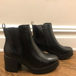 Black croc chunky Chelsea ankle boot